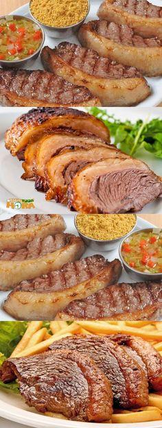 Picanha de Forno beef with side fat I Love Food, Good Food, Yummy Food, Cooking Recipes, Healthy Recipes, Portuguese Recipes, No Cook Meals, Food Hacks, Food Porn