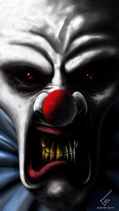 In this picture , it is a clown face.Clown masks links to my idea of hidden.the artist useing red and white and abit drak yellow and bule for color.from this picture i can have a idea of a scary clown face like and add to my art work Gruseliger Clown, Clown Horror, Creepy Clown, Arte Horror, Creepy Dolls, Horror Art, Clown Mask, Clown Photos, Clown Images