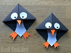 Easy Penguin Corner Bookmark. These penguin bookmarks are so quick and easy to make and are a great beginners origami project!