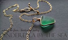 Italian Seaglass Rare Teal Extra Large in 14 kt Gold Fill - Handmade Real Gold Jewelry, Sea Glass Jewelry, Gold Filled Jewelry, Glass Beads, Sea Glass Necklace, Deep Teal, Handmade Necklaces, Precious Metals, Dog Tag Necklace