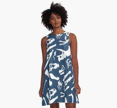 Dinosaur Bones (Blue) A-Line Dress #dinosaurs #trex #allosaurus #triceratops #spinosaurus