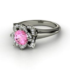 1.46 Ct Round Cut Flower Halo Diamond & Ruby, Blue Sapphire, or Pink Sapphire Engagement Ring on 18k Solid Gold F 26  This would be the ultimate engagement ring/wedding ring because at the price of 1,525 it would have to be both lol. Just beautiful.