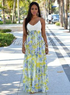 Chic Couture Online - Temptress Yellow Multi-Color Print Open Back Maxi Dress, $55.00 (http://www.chiccoutureonline.com/temptress-yellow-multi-color-print-open-back-maxi-dress/)