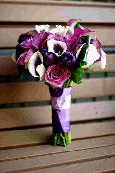 Ivory Purple Bouquet Wedding Flowers Photos & Pictures - WeddingWire.com