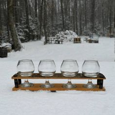 Whiskey Barrel Flight Tray  *** Glasses not included. ***
