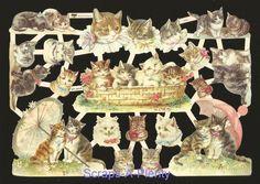 German Victorian Style Embossed Scrap Die Cut - Precious Cats & Kittens  EF7415