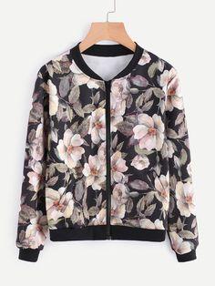 Romwe Floral Print Random Bomber jacketone-size