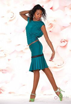 Natural Spin Signature Dance Tops(Short Sleeve):  LT03_GREEN