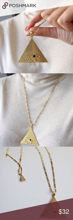 "Gold Egyptian Eye Pyramid necklace. Gold Egyptian Eye Pyramid necklace.  Lenght: 23""  Pendant: 1.9"" X 1.3""       Material: gold plated Jewelry Necklaces"