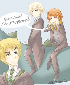 Magic trio Norway, Romania, and England Hetalia Hogwarts