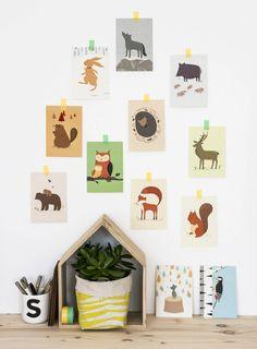 Kartenset mit Waldtieren fürs Kinderzimmer, Dekoration, Wandbild / cards with forrest animals, child's room decoration made by Vierundfünfzig Illustration via DaWanda.com