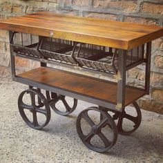 Arguably our best seller in the store! This #industrial 3 bin wood top trolley sells faster than we can keep them in stock! #AntiqueStore #AntiqueMarket #Vancouver #Furniture www.antiquesdirect.ca