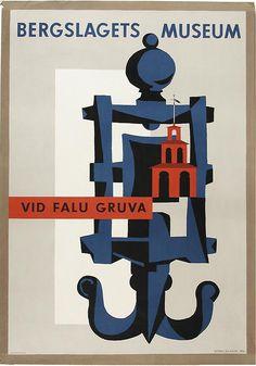 """Bergslagets Museum, Sweden. """"At Falu Mine"""". Anders Beckman 1956."""