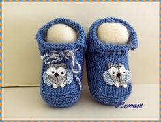Babyschuhe 7 cm EULE blau von Hexenpott auf DaWanda.com