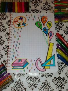 Imagen relacionada Notebook Cover Design, Notebook Art, Page Borders Design, Border Design, Math Projects, School Projects, Diy For Kids, Crafts For Kids, Diy And Crafts