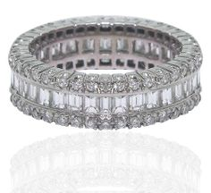 Amazon.com: 18 K White Gold Baguette and Round Diamond Eternity Band: Jewelry
