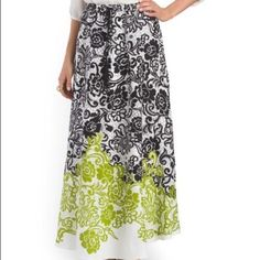 """Mixed floral printed skirt Gorgeous mixed floral printed skirt..black/green....maxi skirt measures 38.5"""" long.  Rayon fabric... Size small firs size 4-6...waist measures 26""""-27""""...NWT Mix Nouveau Skirts Maxi"""