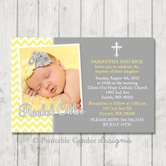 Yellow and Grey Chevron Baptism or Christening Invitation - DIY Custom Printable on Etsy, $10.00