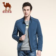 Camel men's coats 2016 stand collar solid color long-sleeve jacket business casual outerwear