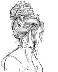 Girl Drawing Sketches, Art Drawings Sketches Simple, Pencil Art Drawings, Love Drawings, Colorful Drawings, Copic Drawings, Drawing Ideas, Outline Drawings, People Coloring Pages