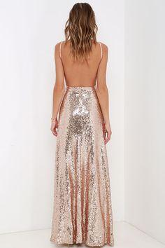Sequin maxi dress gold