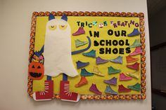 Pete the Cat Bulletin Board - Halloween Holiday Bulletin Boards, October Bulletin Boards, Art Bulletin Boards, Halloween Bulletin Boards, Preschool Bulletin Boards, Preschool Classroom, Classroom Activities, Halloween Door Decorations, Halloween Themes