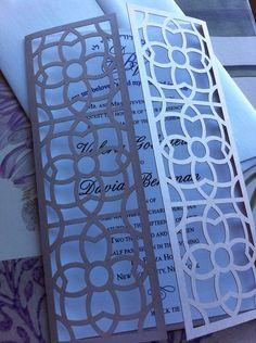 Corte láser, invitaciones de boda, invitaciones de boda corte mueren, Bi Pattened Floral moderna plegable invitaciones, invitaciones personalizadas personalizadas