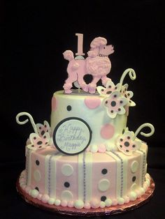 poodles in paris cakes   Pin Tiered Poodle Birthday Cake Cake on Pinterest