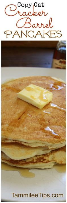 Make your favorite copy cat Cracker Barrel pancakes at home with this delicious recipe! This copycat breakfast is the perfect way to start a morning Quick Healthy Breakfast Ideas & Recipe for Busy Mornings Copycat Cracker Barrel Pancakes, Cracker Barrel Recipes, What's For Breakfast, Breakfast Dishes, Breakfast Recipes, Pancake Recipes, Ihop Pancake Recipe Copycat, Second Breakfast, Churros