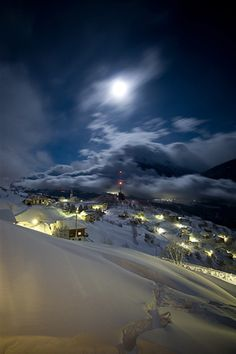 Moonlight Sonata by Remo Rufer night, black, moon, light, snow, village, rural, country side, mountains slopes, clouds, sky, skies, Alps
