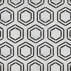Georama Nero Pattern Polished Marble Mosaic Tile is crafted from fine natural stone. Featuring a statement-making geometric pattern created with white and black marble in charming hexagons, it's a throw-back to retro with contemporary flair. Bathroom Floor Tiles, Shower Floor, Tile Floor, Diy Shower, Marble Floor, Bathroom Cabinets, Marble Mosaic, Mosaic Tiles, Mosaics