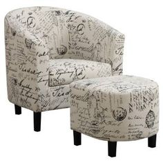 Check out the Coaster Furniture 900210 Two-Piece Accent Chair and Ottoman Set in French Script Pattern