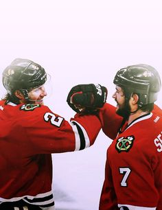 Duncs and Seabs celebrating their Game 7 OT victory vs the Red Wings on 5/28/13