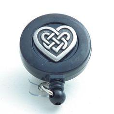 Pewter Celtic Heart on Black Badge Reel - $12.50 Handmade ID Badge Lanyards, Badge Reels, Eyeglass Chains   Plum Beadacious
