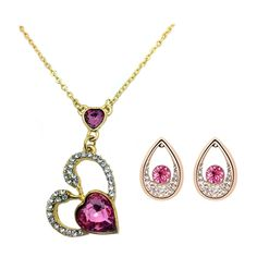 Beora 18k Gold Plated Pink Crystal Pendant Necklace Set