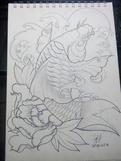 Traditional Japanese Tattoos, Japanese Tattoo Designs, Japanese Tattoo Art, Japanese Art, Tattoo Pez, Black Dragon Tattoo, Koi Tattoo Design, Koi Fish Designs, Koi Dragon