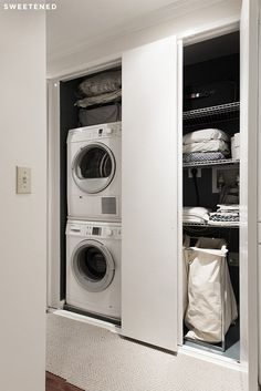 Small Bathroom with Laundry Layout - Small Bathroom with Laundry Layout, 85 Functional Small Laundry Room Design Ideas Small Laundry Closet, Laundry Room Organization, Laundry Room Design, Laundry In Bathroom, Small Bathroom, Bathroom Showers, Hidden Laundry, Bathroom Plans, White Bathroom