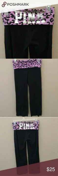 PINK Victoria's Secret Yoga Capri Like new condition. Super cute for the gym or for lounging around at home. Purple Cheetah print Waistband PINK Victoria's Secret Pants Leggings