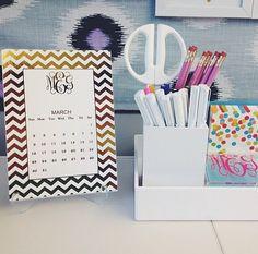Foil Monogram Desk Calendar   Gold or Silver