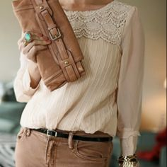 ❤️ the whole outfit...delicate blouse.