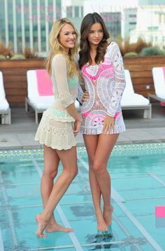 Candice Swanepoel Photos - Victoria's Secret Angels Candice Swanepoel and Miranda Kerr launch the 2012 Swim Collection at the Thompson Hotel on March 2012 in Beverly Hills, California. - Candice Swanepoel Photos - 3095 of 4319 Bathing Suit Covers, Cute Bathing Suits, Miranda Kerr Bikini, Summer Wear, Summer Time, Sexy Legs, Beachwear, Swimwear, Swimsuits