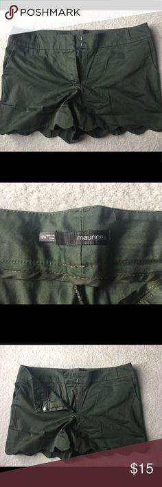 Maurice's shorts Olive green shorts with scalloped hen detail! 3 inch inseam. Size 13/14. Maurices Shorts