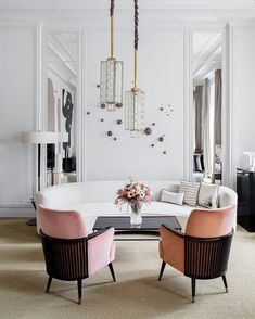 Accent Chairs and interesting light fixtures