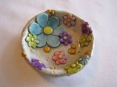 Whimsical ring dish with flowers - polymer clay