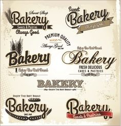 Vintage bakery labels creative vector set 04