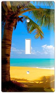 EXOTIC PALM TREE ON A PARADISE SANDY BEACH SINGLE LIGHT SWITCH WALL PLATE COVER | eBay