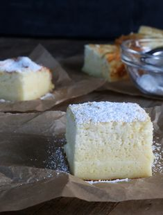 This magic gluten free custard cake creates 3 layers all by itself. The simplest ingredients make the most amazing, light and fluffy cake with a custard center!http://glutenfreeonashoestring.com/gluten-free-custard-cake/