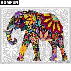 Abstract design Diamond Painting Kits include a wonderful collection of designs and colors to make special one of a kind diamond paintings. Colorful Elephant, Elephant Love, Elephant Art, Elephant Paintings, Elephant Pictures, Butterfly Painting, 5d Diamond Painting, Fabric Painting, Painting Abstract