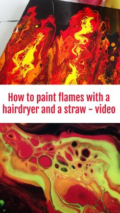 Playing with Fire and a Hairdryer for Acrylic Pouring How to use a straw and a hairdryer to paint flames with acrylic paint Fire Painting, Acrylic Painting Techniques, Pour Painting, Oil Painting Abstract, Acrylic Paintings, Marble Painting, Acrylic Artwork, Portrait Paintings, Abstract Portrait