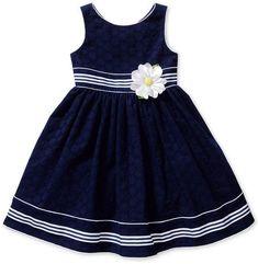 Sweet Heart Rose Little Girls' Striped Eyelet Dress Girls Frock Design, Baby Dress Design, Baby Girl Dress Patterns, Baby Frocks Designs, Kids Frocks Design, Girls Maxi Dresses, Little Girl Dresses, Baby Girl White Dress, Frocks For Girls